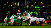 27.02.2015. Ashbourne Rugby Club, Ireland. Womens 6-Nations international. Ireland versus England. Larissa Muldoon (Ireland) prepares to put in to the scrum.