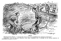 "NCC. First Conscientious Objector. ""I wonder why they've put us on to shifting this infernal manure-heap."" Second ditto. ""I - I did tell the sergeant after drill yesterday that I thought I'd be better employed in cultivating my garden at home."" (two soldiers engaged in hard labour during WW1)"