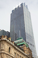 Contrast, old & new, viewed from Bridge Street, Sydney - the Chief Secretary's Building (1880, top floor & dome added 1890s) is dominated by Governor Phillip Tower (1994)