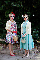 Miss Pearl Lee and Chloe Carrett are pictured at The 2012 Historic Houses Trust of NSW annual Fifties Fair at Rose Seidler House, Sydney. Picture James Horan