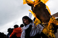 "A woman holds a colorfully decorated horse during the Inti Raymi celebration in Pichincha province, Ecuador, 26 June 2010. Inti Raymi, ""Festival of the Sun"" in Quechua language, is an ancient spiritual ceremony held in the Indian regions of the Andes, mainly in Ecuador and Peru. The lively celebration, set by the winter solstice, goes on for various days. The highland Indians, wearing beautiful costumes, dance, drink and sing with no rest. Colorful processions in honor of the God Inti (Sun) pass through the mountain villages giving thanks for the harvest and expressing their deep relation to the Mother Earth (Pachamama)."