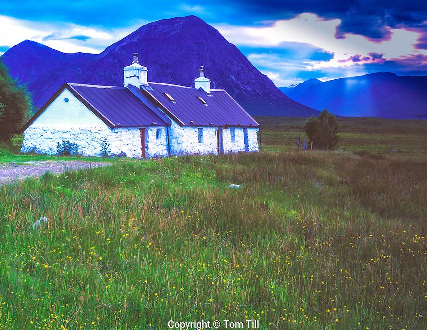 Black Rock Cottage, Scottish Highlands, Glencoe Scotland, United Kingdom, evening