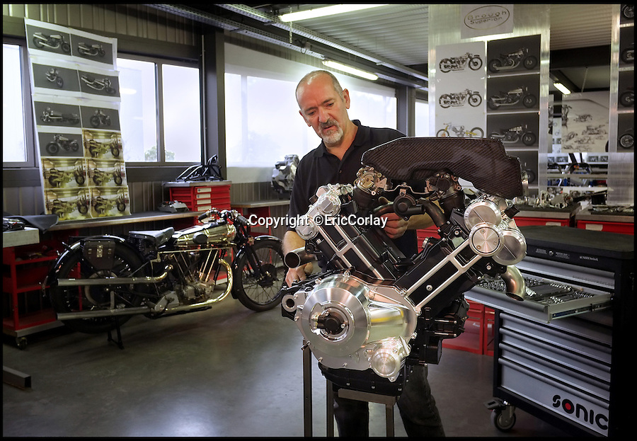 BNPS.co.uk (01202 55883)<br /> Pic: EricCorlay/BNPS<br /> <br /> ***Please Use Full Byline***<br /> <br /> Bespoke build.<br /> <br /> British icon back from the dead - The legendary Brough Superior rides again.  <br /> <br /> The first motorbikes to be made by the legendary Brough Superior marque in over 70 years are set to be rolled out onto British roads.<br /> <br /> The legendary British manufacturers of the 'Rolls Royce' of motorcycles are nearing completion of 300 brand new machines after a businessman bought the rights to the Brough Superior name in 2008.<br /> <br /> Mark Upham has already secured dozens of orders for the &pound;50,000 modern-day replicas of the vintage Brough Superior SS100 bikes that were the fastest machines in the world in the 1930s.<br /> <br /> The new gleaming models have a 1,000cc V-twin engine and a whopping 140bhp. They look almost indentical to the classic Brough bikes and have the same iconic 'saddle' petrol tank and speedo.
