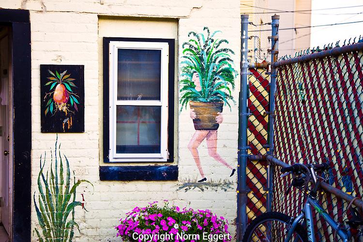 Wall art on a building on Shrewsbury Street, Worcester, MA