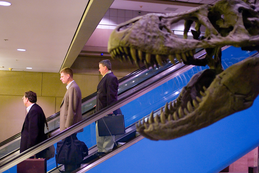 Travelers pass a Tyranosaurus Rex display at Pittsburgh International Airport advertising the Carnegie Museum of Natural History. Airports are catering to travelers who now spend more time in airport terminals and concourses after the terrorist attacks of Sept. 11, 2001. Pittsburgh boasts shopping with prices guaranteed to be the same as outside, plus lower sales taxes. (Kevin Moloney for the New York Times)