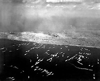 Landing craft brings first wave of invading Yanks to Iwo Jima.  February 1945. (Navy)<br /> Exact Date Shot Unknown<br /> NARA FILE #:  080-G-474953<br /> WAR &amp; CONFLICT BOOK #:  1216