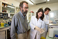 Cancer researcher Dr. Thierry Heidmann (L) supervises his colleagues at the Institut Gustave Roussy in Villejuif, France, 6 May 2008.