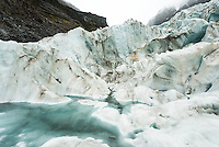 Ice formations on Fox Glacier, Westland Tai Poutini National Park, UNESCO World Heritage Area, West Coast, New Zealand, NZ