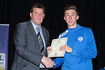 St Johnstone FC Youth Academy Presentation Night at Perth Concert Hall..21.04.14<br /> Manager Tommy Wright presents to Jack Parr<br /> Picture by Graeme Hart.<br /> Copyright Perthshire Picture Agency<br /> Tel: 01738 623350  Mobile: 07990 594431