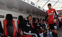 FUSSBALL   1. BUNDESLIGA   SAISON 2011/2012    4. SPIELTAG Bayer 04 Leverkusen - Borussia Dortmund              27.08.2011 Michael BALLACK (re) auf dem Weg zu seinem Platz auf der Ersatzbank. Eren DERDIYOK (li, beide Leverkusen) hat schon Platz genommen