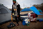 Jessie Brandon moves back into the SafeGround camp in Sacramento, Calif., January 13, 2011.