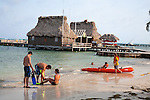 Tourists getting ready to go snorkeling at Ramon's Village Resort in San Pedro, Ambergris Caye, Belize