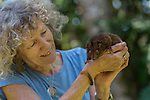 Margit Cianelli wildlife carer and real life Doctor Doolittle takes care of a Herbert Ringtail Possum baby who walked in to her outside patio. This possum species is the icon symbol of the Queensland Parks and Wildlife Service.