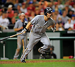 21 August 2009: Milwaukee Brewers' outfielder Frank Catalanotto at bat during a game against the Washington Nationals, at Nationals Park in Washington, DC. The Brewers defeated the Nationals 7-3 in the first game of their four-game series. Mandatory Credit: Ed Wolfstein Photo