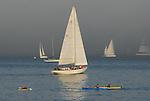 Kayaks and sailboats
