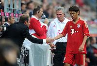 Fussball 1. Bundesliga :  Saison   2011/2012   Liga Total Cup  20.07.2011 FSV Mainz 05 - FC Bayern Muenchen Sportdirektor Christian Nerlinger, Trainer Jupp Heynckes , Takashi Usami  (v. li., FC Bayern Muenchen)