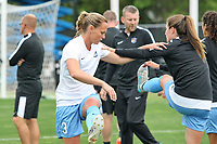 Piscataway, NJ - Saturday May 20, 2017: Christie Pearce, Mckenzie Meehan prior to a regular season National Women's Soccer League (NWSL) match between Sky Blue FC and the Houston Dash at Yurcak Field.  Sky Blue defeated Houston, 2-1.