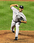 New York Yankees pitcher Mariano Rivera (42) works in the ninth inning against the Baltimore Orioles at Oriole Park at Camden Yards in Baltimore, Maryland on Monday, August 29, 2011.  The Yankees won the game 3 - 2..Credit: Ron Sachs / CNP.(RESTRICTION: NO New York or New Jersey Newspapers or newspapers within a 75 mile radius of New York City)