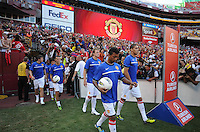 Manchester United entering the field for pre-game practice. Manchester United defeated Barcelona FC 2-1 at FedEx Field in Landover, MD Saturday July 30, 2011.