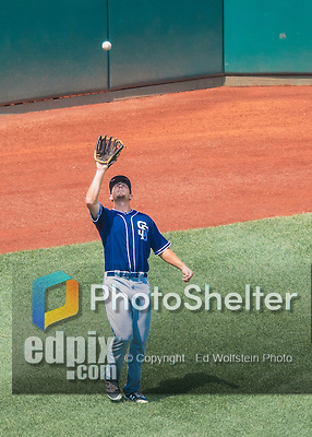 24 July 2016: San Diego Padres outfielder Alex Dickerson pulls in a fly ball during play against the Washington Nationals at Nationals Park in Washington, DC. The Padres defeated the Nationals 10-6 to take the rubber match of their 3-game, weekend series. Mandatory Credit: Ed Wolfstein Photo *** RAW (NEF) Image File Available ***