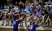 The number 24 ranked Furman Paladins took on the number 20 ranked Clemson Tigers in an inter-conference game at Clemson's Riggs Field.  Furman defeated Clemson 2-1.  Furman fans congratulate their players after Furman's victory.