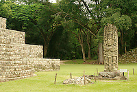 Stela A and altar at the Mayan ruins of Copan, Honduras. Copan is a UNESCO World Heritage Site.