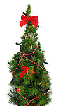Small decorated Christmas tree Isolated on white background