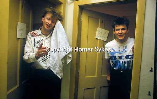 Bruce Watson Stuart Adamson  Big Country on tour Scotland.Back stage after a concert.