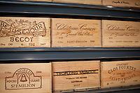 Fine wines Chateau Canon, Chateau Angelus, Chateau Fourtet, Chateau Beausejour Becot, Troplong Mondot at Vignobles et Chateaux wine merchant in St Emilion, Bordeaux, France