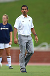 22 September 2016: Notre Dame assistant coach Diego Bocanegra. The North Carolina State University Wolfpack hosted the University of Notre Dame Fighting Irish at Dail Soccer Field in Raleigh, North Carolina in a 2016 NCAA Division I Women's Soccer match. Notre Dame won the game 1-0.