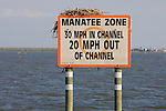 Manatee Zone Sign With Osprey Nest & Osprey On Top