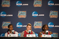 NASHVILLE, TN - The Stanford Cardinal address the media during a post-practice interview in Nashville, TN for the 2014 NCAA Final Four tournament at the Bridgestone Arena.