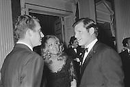 January 27th 1971, Washington DC, <br /> King Juan Carlos of Spain at the Spanish Embassy in Washington talking to the Senator Edward Kennedy and his wife Joan.