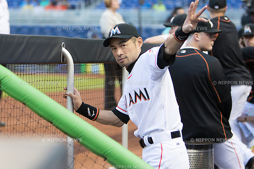 Ichiro Suzuki (Marlins),<br /> MAY 20, 2015 - MLB : Ichiro Suzuki of the Miami Marlins is senn during the Major League Baseball game against the Arizona Diamondbacks at Marlins Park in Miami, Florida, United States.<br /> (Photo by Thomas Anderson/AFLO) (JAPANESE NEWSPAPER OUT)