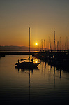 Shilshole Marina with silhouetted sailboat docking in marina at sunset with Puget Sound and Olympic Mountains Seatttle Washington State USA..
