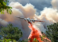 A fire bomber makes a drop of fire retardent just above the treeline in Descanso, California on October 27, 2003. The fire, which has scorched more than 100,000 acres across San Diego County is not expected to be contained until at least October 31.
