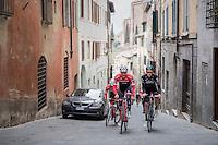 Jasper Stuyven (BEL/Trek-Segafredo) & Tao Geoghegan Hart (GBR/SKY) in the streets of Siena during the 2017 Strade Bianche recon (the day before the race)