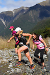 NELSON LAKES, NEW ZEALAND - APRIL 18:  Crossing the Travers River during the 2015 Alpine Lodge Loop The Lake trail run at Lake Rotoiti on April 18 16, 2015 in Nelson, New Zealand. (Photo by Marc Palmano/Shuttersport Limited)