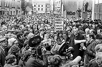 Loyalist politicians Rev Ian Paisley and Ernest Baird (with the microphone) lead a UUAC strike protest in Portadown, N Ireland, May, 1977. 19770506341<br />
