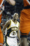 Seattle SuperSonics  Ray Allen reacts to a loose ball foul against the Los Angeles Clippers in the fourth period on Friday, April 14, 2006 at the Key Arena in Seattle. The Clippers beat the SuperSonics 101-97.  Jim Bryant Photo. &copy;2010. All Rights Reserved.