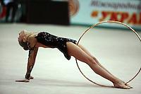 "Daria Kushnerova of Ukraine performs with hoop at 2008 World Cup Kiev, ""Deriugina Cup"" in Kiev, Ukraine on March 22, 2008."