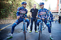 Antoine Demoiti&eacute; (BEL/Wanty-Groupe Gobert) &amp; Kenny De Haes (BEL/Wanty-Groupe Gobert) before riding out <br /> <br /> Pro Cycling Team Wanty-Groupe Gobert <br /> <br /> Pre-season Training Camp january 2016