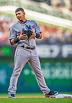 8 June 2013: Minnesota Twins infielder Eduardo Escobar stands on third during a game against the Washington Nationals at Nationals Park in Washington, DC. The Twins edged out the Nationals 4-3 in 11 innings. Mandatory Credit: Ed Wolfstein Photo *** RAW (NEF) Image File Available ***
