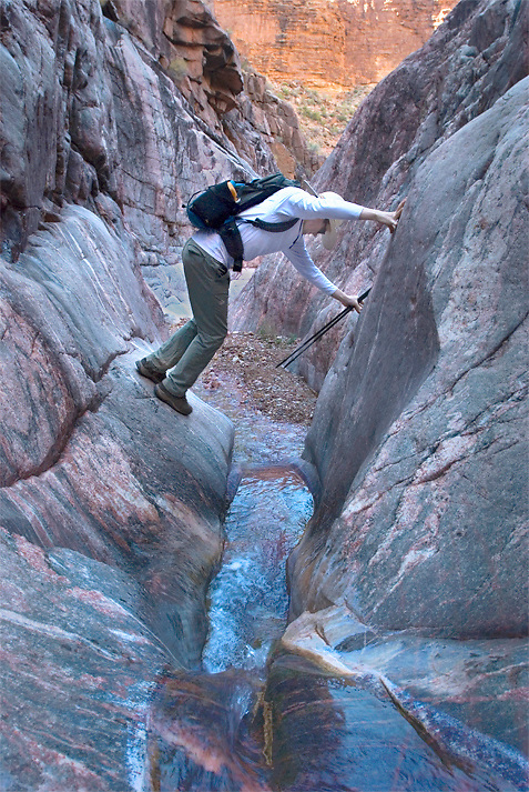 Chimneying granite narrows in Monument Creek, Grand Canyon National Park, AZ