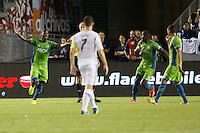CARSON, California - September 21, 2013: The LA Galaxy and Seattle Sounders played to a 1-1 draw during a MLS (Major League Soccer) match at StubHub Center stadium.