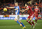 Aberdeen v St Johnstone&hellip;10.12.16     Pittodrie    SPFL<br />Steven MacLean holds off Anthony O&rsquo;Connor<br />Picture by Graeme Hart.<br />Copyright Perthshire Picture Agency<br />Tel: 01738 623350  Mobile: 07990 594431