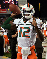 Miami quarterback Jacory Harris. The Miami Hurricanes defeated the Pittsburgh Panthers 31-3 at Heinz Field, Pittsburgh, Pennsylvania on September 23, 2010.