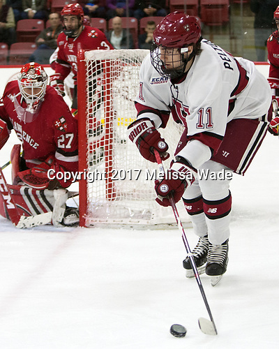 Ty Pelton-Byce (Harvard - 11) - The Harvard University Crimson defeated the St. Lawrence University Saints 6-3 (EN) to clinch the ECAC playoffs first seed and a share in the regular season championship on senior night, Saturday, February 25, 2017, at Bright-Landry Hockey Center in Boston, Massachusetts.