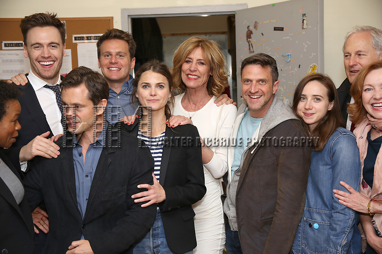 Quincy Tyler Bernstine, Erich Bergen, Hugh Dancy, Jonathan Groff, Keri Russell, Christine Lahti, Raul Esparza, Zoe Kazan, Victor Garber and Julie White backstage at the Indigo Theatre Project's Benefit Reading of  'An America Daughter'  at The Tony Kiser Theater on May 8, 2017 in New York City.