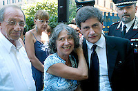 Rome July 19 2008.Annyversary of  the Bombardment district of San Lorenzo by the American occurred on 19 July 1943.The mayor of Rome Gianni Alemanno  makes tribute to the monument the Fallen together with a supporter